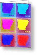 Arkansas Pop Art Map 2 Greeting Card by Naxart Studio