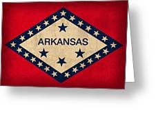 Arkansas State Flag Art On Worn Canvas Greeting Card by Design Turnpike