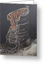 Army Boot Retired  Greeting Card by Susan Roberts