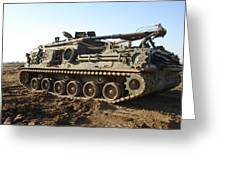 Army Tank Greeting Card by Sharla Fossen