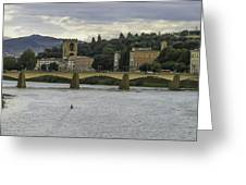 Arno River And Architecture In Florence Greeting Card by Karen Stephenson