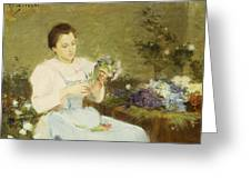 Arranging Flowers For A Spring Bouquet Greeting Card by Victor Gabriel Gilbert
