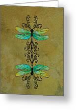 Art Nouveau Damselflies Greeting Card by Jenny Armitage