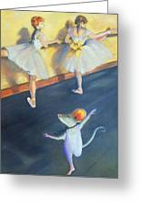 Artemouse With Dancers At The Barre Greeting Card by Debbie Patrick