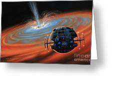 Artificial Planet Orbiting A Black Hole Greeting Card by Lynette Cook