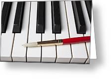 Artist Brush On Piano Keys Greeting Card by Garry Gay