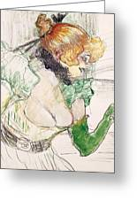 Artist With Green Gloves - Singer Dolly From Star At Le Havre Greeting Card by Henri de Toulouse Lautrec