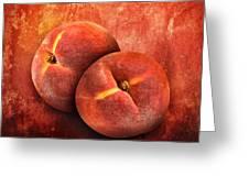Artistic Peach Fruit On Orange Texture Greeting Card by Angela Waye