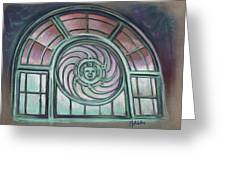 Asbury Park Carousel Window Greeting Card by Melinda Saminski