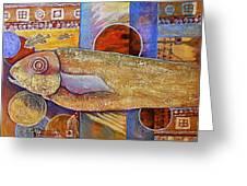 Asian Fish Market Greeting Card by JAXINE Cummins
