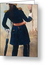 Assiniboine Warrior In Regimental Greeting Card by Photo Researchers