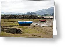 Asturias Seascape With Boats Greeting Card by Frank Tschakert