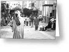 Aswan Street Seller Greeting Card by Laura Hiesinger