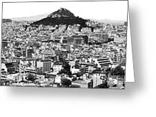 Athens City View In Black And White Greeting Card by John Rizzuto