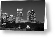 Atlanta Skyline At Night Downtown Midtown Black And White Bw Panorama Greeting Card by Jon Holiday