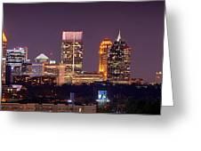 Atlanta Skyline At Night Downtown Midtown Color Panorama Greeting Card by Jon Holiday