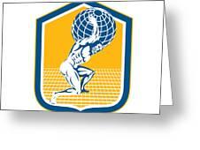Atlas Carrying Globe On Shoulder Shield Retro Greeting Card by Aloysius Patrimonio