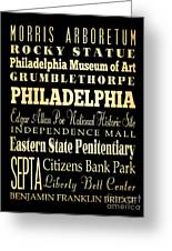 Attractions And Famous Places Of Philadelphia Pennsylvania Greeting Card by Joy House Studio