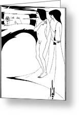 Aubrey Beardsley Woman In The Moon Greeting Card by