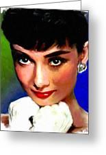 Audrey Hepburn Greeting Card by Allen Glass