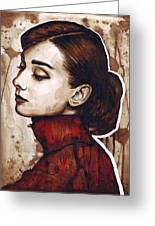 Audrey Hepburn Greeting Card by Olga Shvartsur