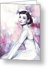Audrey Hepburn Purple Watercolor Portrait Greeting Card by Olga Shvartsur