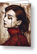 Audrey Hepburn - Quiet Sadness Greeting Card by Olga Shvartsur