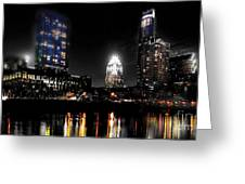 Austin Night Skyline Reflections Greeting Card by Gary Gibich