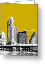 Austin Texas Skyline - Gold Greeting Card by DB Artist