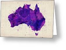 Australia Watercolor Map Art Greeting Card by Michael Tompsett