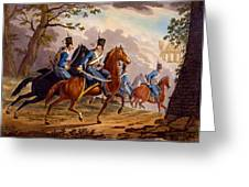Austrian Hussars In Pursuit Greeting Card by Conrad Gessner
