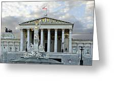 Austrian Parliament Building In Vienna Greeting Card by Mountain Dreams