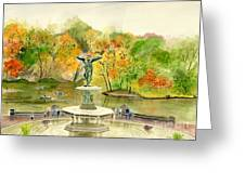 Autumn At Central Park Ny Greeting Card by Melly Terpening