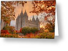 Autumn At Temple Square Greeting Card by Dustin  LeFevre