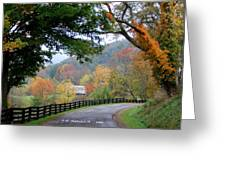 Autumn Beauty Around The Bend Greeting Card by Carolyn Postelwait
