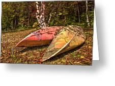 Autumn Canoes Greeting Card by Debra and Dave Vanderlaan
