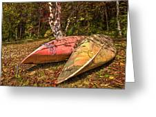 Autumn Canoes Greeting Card by Debra and Dave Vanderlaan