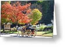 Autumn Carriage Ride Greeting Card by Barbara McDevitt
