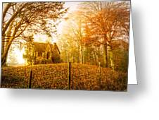 Autumn Cottage Greeting Card by Debra and Dave Vanderlaan