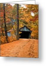 Autumn Covered Bridge Greeting Card by Joann Vitali
