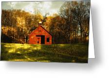 Autumn Day On School House Hill Greeting Card by Denise Beverly