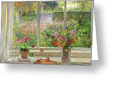 Autumn Fruit and Flowers Greeting Card by Timothy  Easton