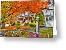 Autumn - House - The Beauty Of Autumn Greeting Card by Mike Savad