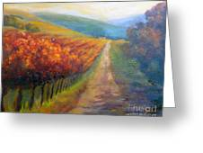 Autumn In The Vineyard Greeting Card by Carolyn Jarvis