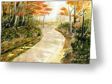 Autumn Lane Greeting Card by Melly Terpening