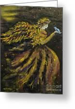 Autumn Moon Angel Greeting Card by Carla Carson