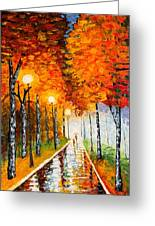 Autumn Park Night Lights Palette Knife Greeting Card by Georgeta  Blanaru
