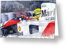 Ayrton Senna Mclaren 1991 Hungarian Gp Greeting Card by Yuriy Shevchuk