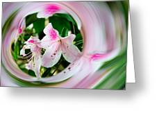 Azalea Swirl Greeting Card by Penny Lisowski