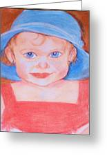 Baby In Blue Hat Greeting Card by Christy Brammer